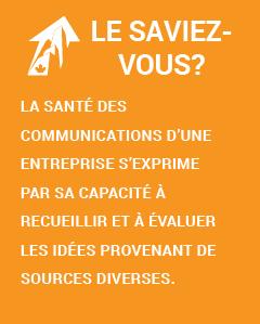 Le saviez-vous? La santé des communications d'une entreprise s'exprime par sa capacité à recueillir et à évaluer les idées provenant de sources diverses.