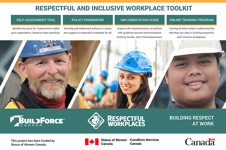 Graphic with description of the BuildForce Canada Respectful and Inclusive Workplace Toolkit