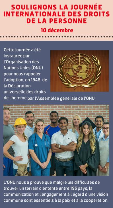 Soulignons la Journée internationale des droits de la personne - 10 décembre