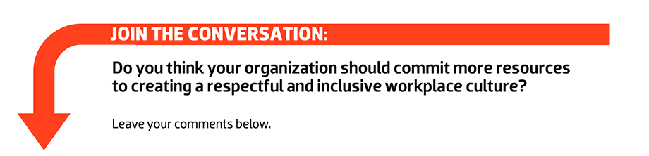 Join the conversation: Do you think your organization should commit more resources to creating a respectful and inclusive workplace culture?