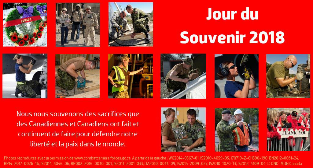 Jour du Souvenir 2018 --- Nous nous souvenons des sacrifices que des Canadiennes et Canadiens ont fait et continuent de faire pour défendre notre liberté et la paix dans le monde.