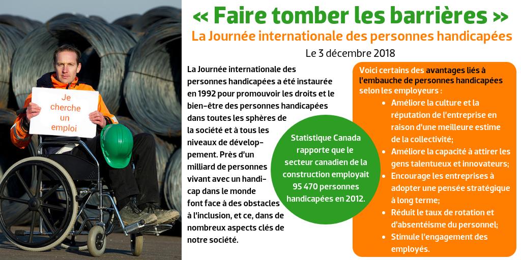 « Faire tomber les barrières », La Journée internationale des personnes handicapées, Le 3 décembre 2018 --- La Journée internationale des personnes handicapées a été instaurée en 1992 pour promouvoir les droits et le bien-être des personnes handicapées dans toutes les sphères de la société et à tous les niveaux de développement. Près d'un milliard de personnes vivant avec un handicap dans le monde font face à des obstacles à l'inclusion, et ce, dans de nombreux aspects clés de notre société. --- Statistique Canada rapporte que le secteur canadien de la construction employait 95 470 personnes handicapées en 2012. --- Voici certains des avantages liés à l'embauche de personnes handicapées selon les employeurs : Améliore la culture et la réputation de l'entreprise en raison d'une meilleure estime de la collectivité; Améliore la capacité à attirer les gens talentueux et innovateurs; Encourage les entreprises à adopter une pensée stratégique à long terme; Réduit le taux de rotation et d'absentéisme du personnel; Stimule l'engagement des employés.