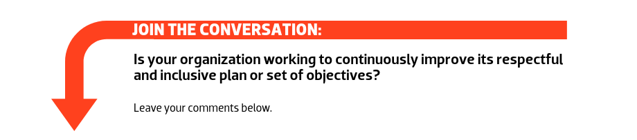 Join the conversation: Is your organization working to continuously improve its respectful and inclusive plan or set of objectives?