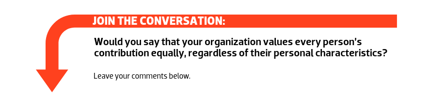 Join the conversation: Would you say that your organization values every person's contribution equally, regardless of their personal characteristics?