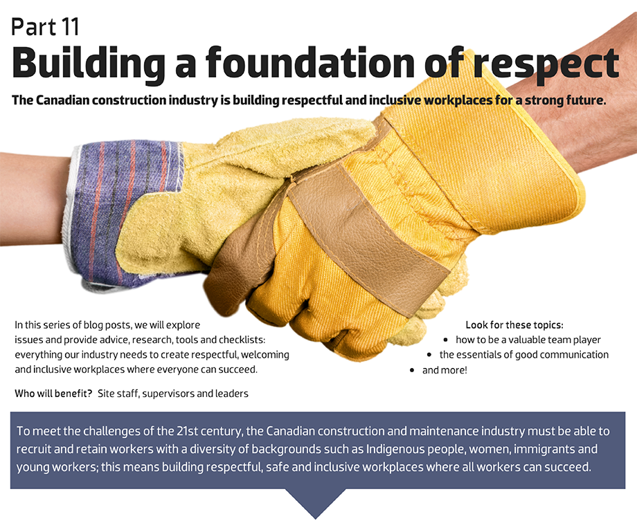 Developing effective communication skills to create and sustain a respectful and inclusive workplace in construction