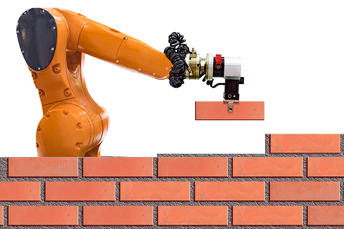 Is robotic technology set to replace skilled construction tradespeople?  [image of bricklaying robot]