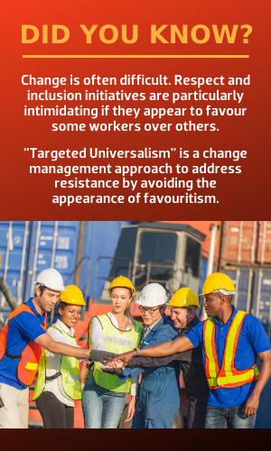 """Targeted Universalism"" is a change management approach that simultaneously aims for an organizational goal while also addressing disparities in opportunities among specific groups of workers."