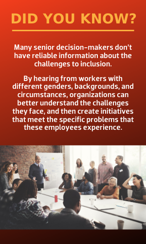 Many senior decision-makers don't have reliable information about the challenges to inclusion.