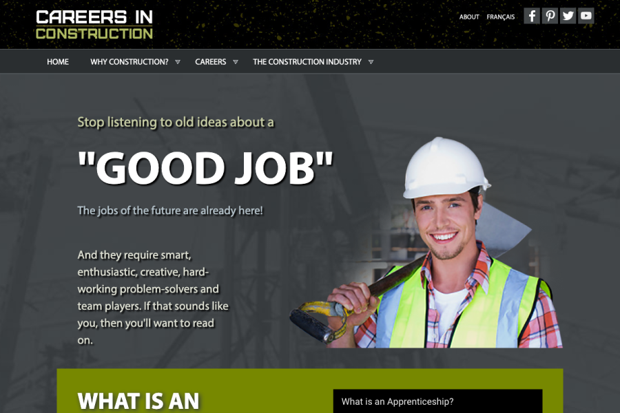 Careers in Construction Website Thumbnail
