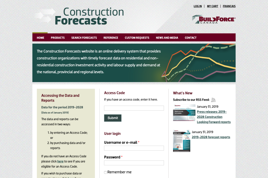 Construction Forecasts Website Thumbnail